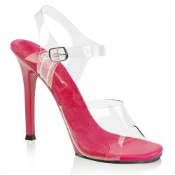 Sandale transparente à talon aiguille rose fuchsia et bride cheville
