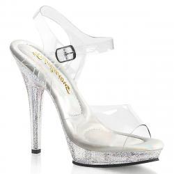 Sandale de soirée transparente avec plateau à paillettes