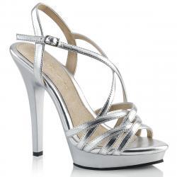 Sandale plateforme talon haut argentée à brides croisées sexy