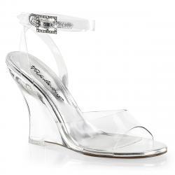 Sandale compensée transparente et argentée LOVELY-406 sexy et vegan