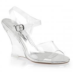 Sandale compensée transparente avec semelle argentée sexy LOVELY-408
