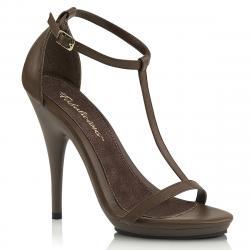 Sandale talon aiguille à petite plateforme et bride cheville marron