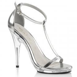 Sandale argentée à bride cheville avec talon aiguille et petite plateforme plexi