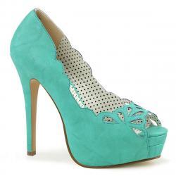 Escarpin pin up turquoise à plateforme et haut talon aiguille stiletto sexy avec bout ouvert