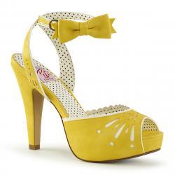 Chaussure vintage jaune à bride cheville et bout ouvert