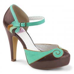 Chaussure pin up rétro bicolore marron - vert à talon haut et plateforme