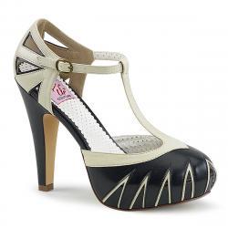 Chaussure Pin Up vintage escarpin Salomé blanc / bleu à plateforme et talon avec découpes rétro