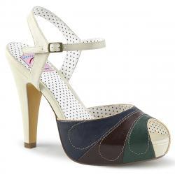 Sandale vintage multicolore rétro à bout ouvert et plateforme
