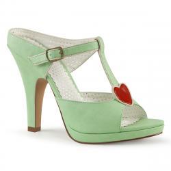 Sandale rétro vert pastel à plateforme avec motif coeur