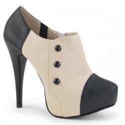 bottine boots femme à plateforme bicolore noire et beige grande taille du 39 au 46
