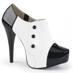 Chaussure femme richelieu à plateforme noire et blanche grande taille