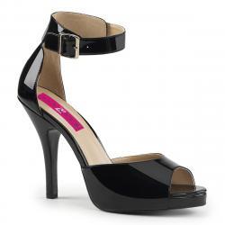 Sandale plateforme noire vernis à dos fermé et bride cheville grande taille