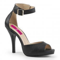 Sandale plateforme noire mat avec dos fermé et bride cheville grande taille