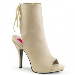 bottine / boots ouverte femme avec plateforme beige grande taille du 39 au 46
