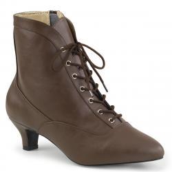 Chaussure victorienne marron brun à petit talon et lacet pour femme grande pointure du 39 au 46