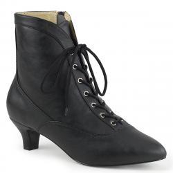 Chaussure victorienne noire mat à petit talon et lacet pour femme grande pointure du 39 au 46