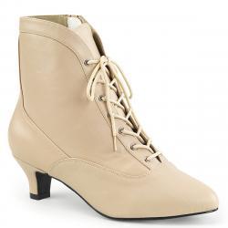 Chaussure victorienne beige à petit talon et lacet pour femme grande pointure du 39 au 46