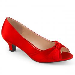 Escarpins satin rouge peep toe ( à bout ouvert ) petit talon grande pointure du 39 au 46,5 -