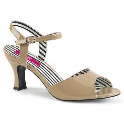 Sandale nude à talon bobine et bout ouvert avec brides chevilles grande taille du 39 au 46,5