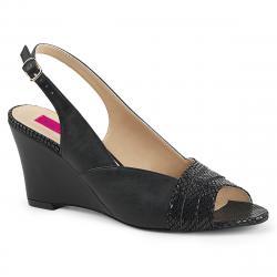 Sandales compensées noires à bout ouvert KIMBERLY-01SP grande taille du 39 au 46