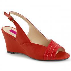 Sandales compensées rouge à bout ouvert KIMBERLY-01SP grande taille du 39 au 46