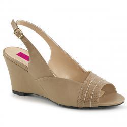 Sandales compensées nude à bout ouvert KIMBERLY-01SP grande taille du 39 au 46