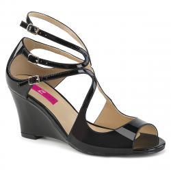 Sandales compensées noires à 3 brides à bout ouvert grande taille du 39 au 46