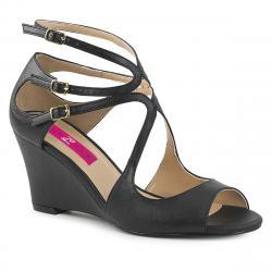 Sandales compensées noires à 3 brides à bout ouvert grande taille du 39 au 46KIMBERLY-04