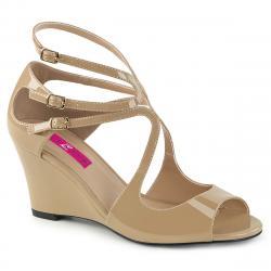 Sandales compensées nude à 3 brides à bout ouvert grande taille du 39 au 46 KIMBERLY-04
