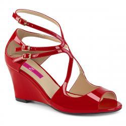 Sandales compensées rouge vernis brillantes à 3 brides dispo grande taille