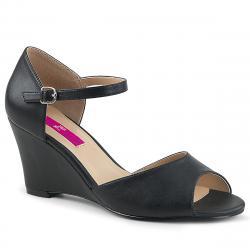 Sandales compensées noires à bout ouvert KIMBERLY-05 grande taille du 39 au 46