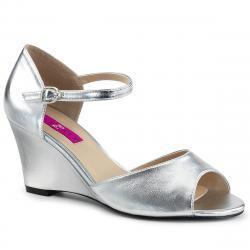 Sandale compensée argentée à bout ouvert KIMBERLY-05 grande taille du 39 au 46