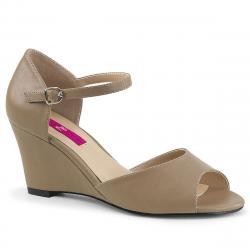 Sandale compensée beige à bout ouvert KIMBERLY-05 grande taille du 39 au 46
