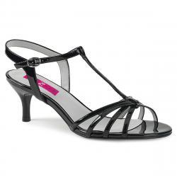 Sandales noires talon 6 cm à lanière grande pointure