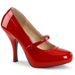Escarpin Pin Up rouge vernis talon aiguille à plateforme cachée et bride Mary Jane vintage grande taille du 39 au 46