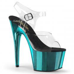 sandale pole dance à plateforme chromée bleue et bride cheville transparente