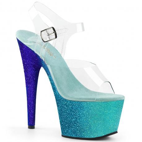 Sandale pole dance à plateforme bleue pailletée et brides transparentes