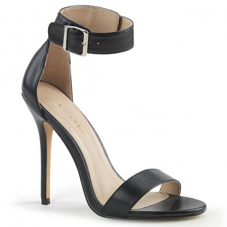 Sandale sexy grande taille à haut talon aiguille 12 cm noire mat