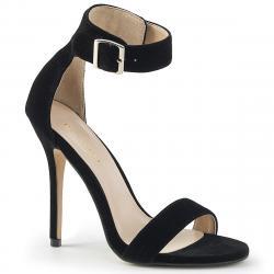 Sandale sexy à talon haut 12 cm à bride noire petite et grande taille