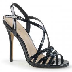 Sandale femme à bride avec talons hauts stiletto noire vernis grande taille du 35 au 44 - vegan -