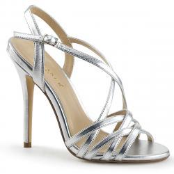 Sandale argentée à bride avec talons hauts stiletto sexy grande taille du 35 au 44 - vegan -