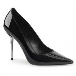 Escarpin bout pointu noir vernis à talon aiguille stiletto en métal - grande taille du 35 au 46,5 - végan