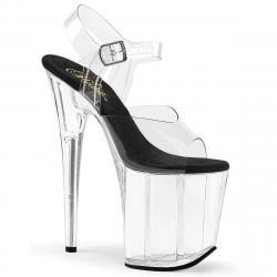 Sandale transparente plateforme plexi et talon 20 cm