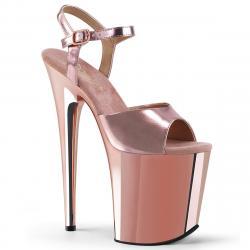 Sandale plateforme à talon de 20 cm rose gold métallisé Pleaser