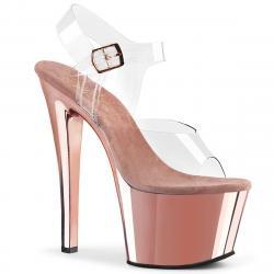 Sandale pole dance transparente à plateforme rose petite et grande taille du 35 au 44