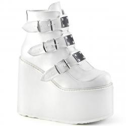 low boots gothique compensée blanche à triple boucles femme