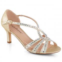Escarpin / sandale doré à talon moyen 6 cm et brides strass pour soirée