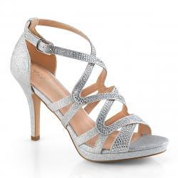 Sandale argentée sexy à talon aiguille et plateforme avec lanière croisée, bride cheville avec strass du 35 au 42 - vegan