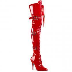 Cuissarde vinyle rouge vernis avec boucles et lacets à talon aiguille grande pointure du 36 au 44