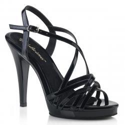Sandale plateforme noire à brides entrecroisées